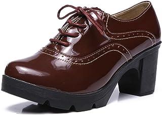 DADAWEN Femmes Chaussures de Ville à Lacets Derbies Baskets Cuir Plateforme/Mary Jane Oxfords Chaussures