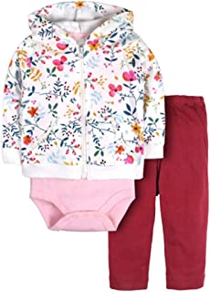 BOZEVON Baby Clothing Set 3 Pieces - Long Sleeve Hoodie + Bodysuit + Pants Newborn Girl Boy Autumn Winter Clothes Outfits 0-18 Months