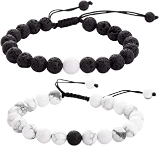 Lullabb Friendship Couples Gifts Lava Rock Stone Bracelets for Mens Womens, 8MM Natural Howlite Turquoise Essential Oil Diffuser Beads Bangles for Girls Boys
