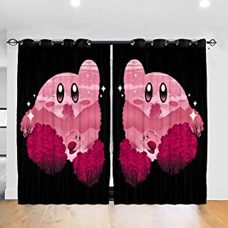 FDASLJ Customized Blackout Window Curtains Kirby Silhouette Super Smash Bros Grommet Thermal Insulated Room Darkening Drape for Bedroom Living Room 52 X 72 Inch, 2 Panels