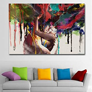 Faicai Art Colorful Abstract Pop Art Women and Men Banksy Graffiti Paintings Wall Art Canvas Prints Posters Couple Huging Wall Decor Pictures for Living Room Home Office Decor Framed 32