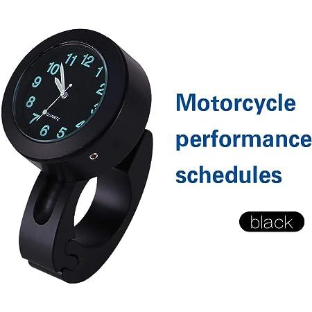 """Montre universelle de lueur d'horloge de montage de guidon de moto nouveau noir étanche 7/8""""-1"""""""