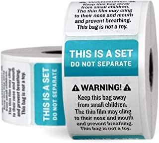 2-in-1 Do Not Separate and Suffocation Warning Labels - FBA Approved - 2 Pack (1000)