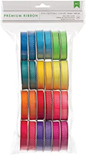American Crafts 24731Extreme Value Neon Grosgrain Ribbon by  | 24 pack, various printed and woven patterns
