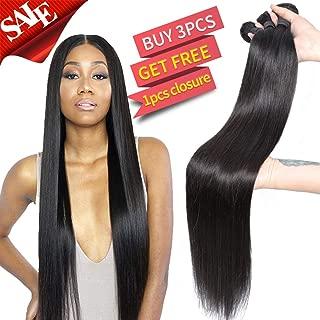 Brazilian Virgin Straight Human Hair Bundles 100% Unprocessed Human Hair Bundles Long Inch Bundles (30 30 30 Inch, 3Bundles)