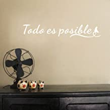 BOWINUS Wall Decals Everything is Possible Spanish Motivational Quote Wall Art RemovablePVC Wall Sticker Home Office Wall Decoration