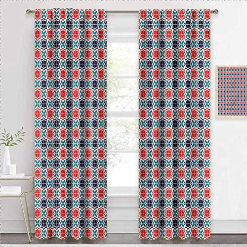 painting-home Kids Blackout Curtains Moroccan, Ancient Star Tiles Kids Room Darkening Curtains Perfect for Your Living Room W63 x L45 Inch