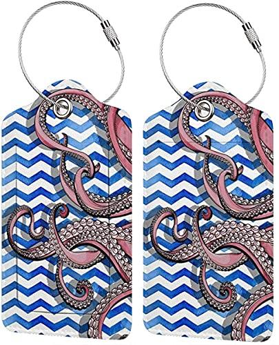 BeachSurfers - Etichette per bagagli, in pelle PU, motivo geometrico, variopinto per valigie, etichette per bagagli, porta carte d'identità da visita, confezione da 2 pezzi, colore: argento
