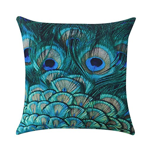 Demiawaking Decorative Peacock Feather Pillow Cushion Cover Vintage Square Cotton Linen Pillow Case Cover with Zipper for Sofa Car Office Home Decoration (Style 3)