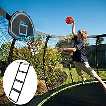 PAPAJET Wide 3-Step Trampoline Ladder & Universal Trampoline Basketball Hoop with Pump and Ball Flat teps Easy Install for Straight Pole Curved Pole