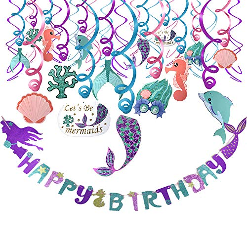 Mermaid Party Decoration Favor Supplies Set(31pack),Mermaid Hanging Swirls and Adorable Mermaid Shape Birthday Banner, Ideal For Birthday Party,Baby Shower,Mermaid Theme Party,Under The Sea Party