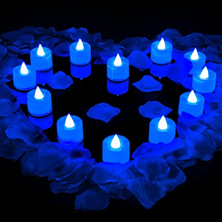 600 Artificial Rose Petals with 12 Flameless LED Tea Lights Candle Romantic Flameless Flickering Candle for Romantic Night Valentine's Day Anniversary Wedding Honeymoon (Blue Light)