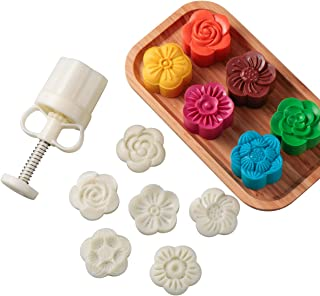 LOUTYTUO Mid-Autumn Festival Hand-Pressure Mooncake Mold Cookie Stamps DIY Pastry Tool With 6 Pcs Flower Mode Pattern (75g)