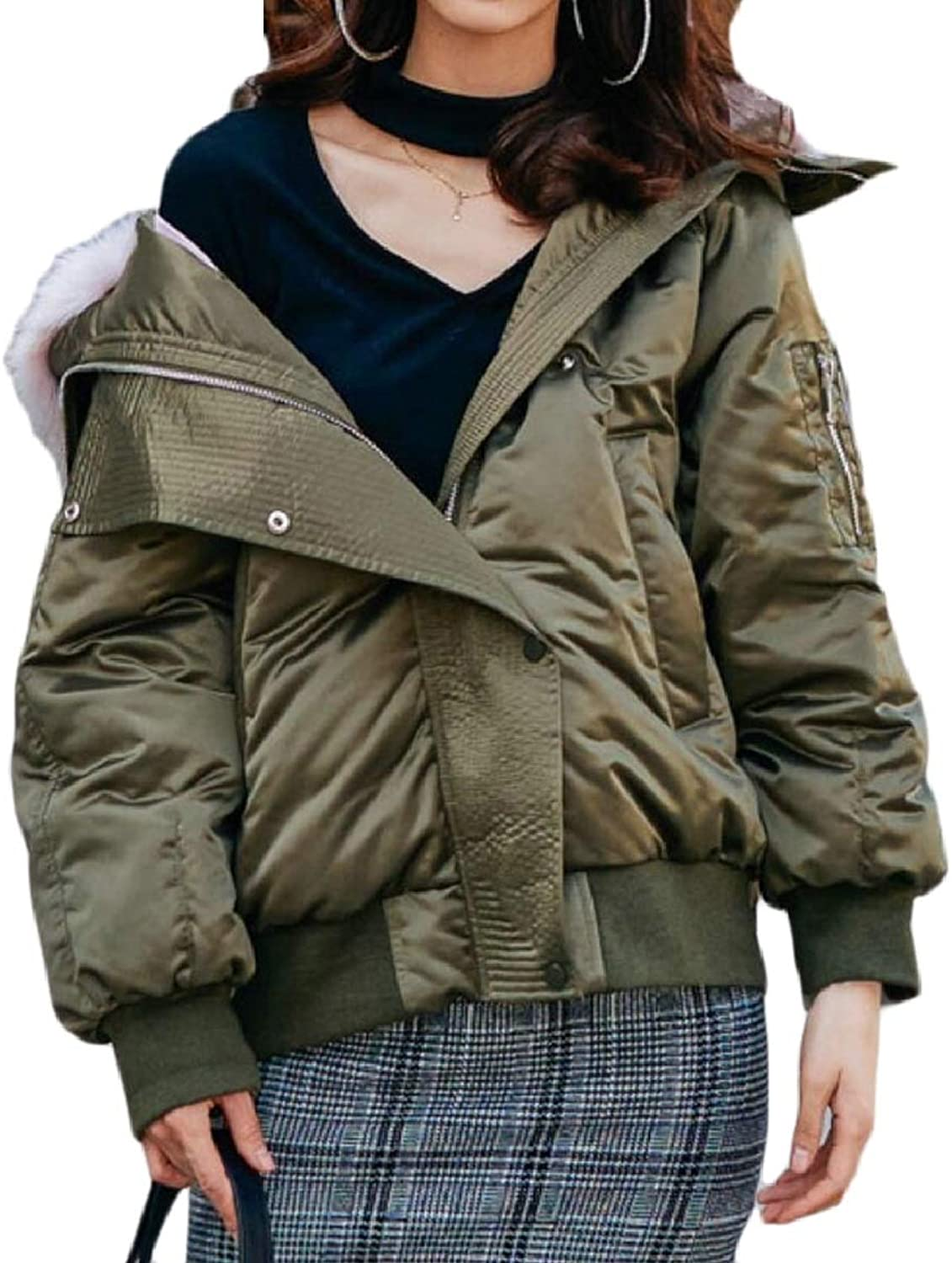 LEISHOP Womens Thick FrontZip Loose FauxFur Collar Puffer Down Jacket Coat