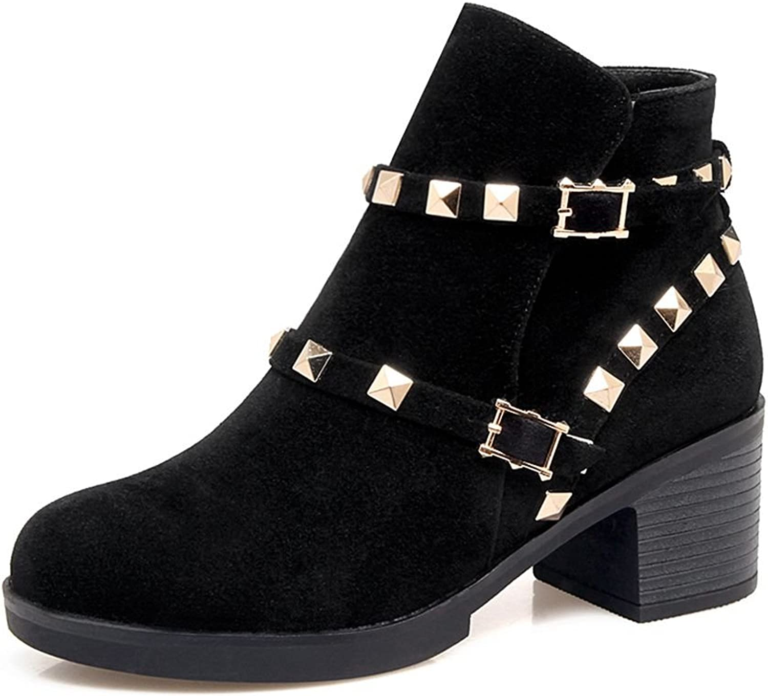 SaraIris Rivet Square Heels Solid Neutral Ankle Boots for Women
