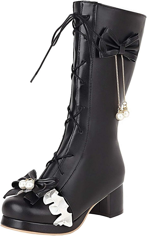 LanreyTaley Women Lace-Up 上品 Ankle Boots Heels Block High Platform 高級