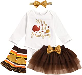 Newborn Baby Girl Thanksgiving Outfit Long Sleeve Romper+Sequin Bow Tulle Tutu Skirt+Headband+Leg Warmers 4PCS Clothes Set