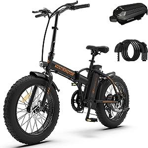 "Aostirmotor Folding Electric Bike 20"" Fat Tire Electric"