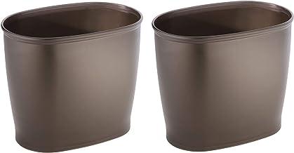 InterDesign Kent Oval Waste, Trash Can for Bathroom, Bedroom, Office-Set of 2