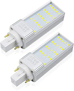 Bonlux LED G24 PL Retrofit Lamp, 7W Universal G24D 2-pin G24Q 4-pin Base Horizontal Recessed LED Bulb 13W G24D-1, G24D-2, G24D-3 CFL Replacement, Remove/Bypass the Ballast, Daylight 6000K, 2-Pack