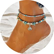 Liumart Turtle Anklet for Girls and Women, Multi-Layer Charm Beads Sea Bench Handmade Boho Anklet Foot Jewelry Gifts