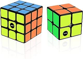 WTOR 2個セット スピードキューブ 立体パズル 最新ver2.0世界基準配色 ポップ防止 回転スムーズ 競技専用 6面完成攻略書付属(3X3X3と2X2X2セット) (2セット)