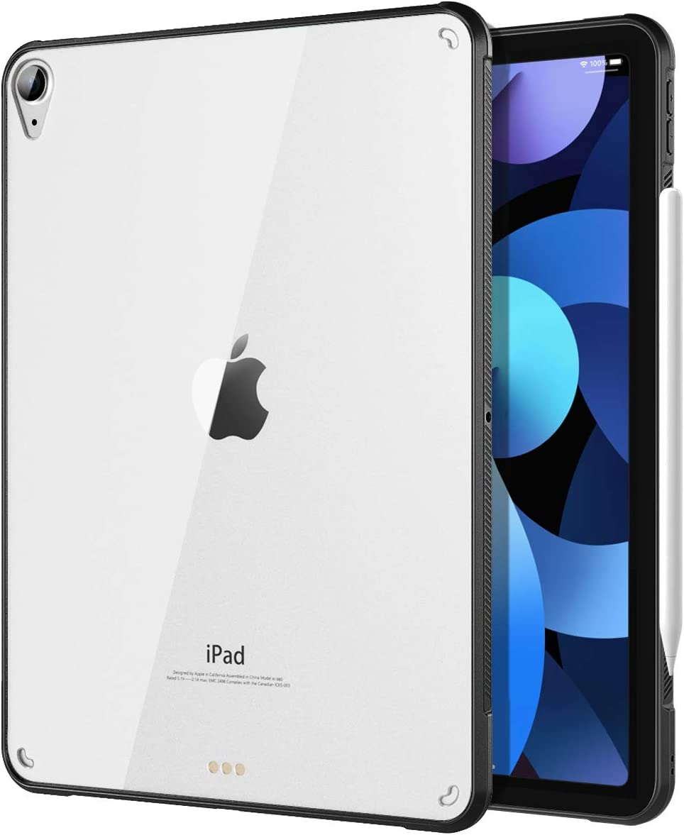 TiMOVO Case for New iPad Air 4th Generation, iPad Air 4 Case (10.9-inch, 2020), Ultra Slim Shockproof Flexible TPU Air-Pillow Edge Protective Cover, [Support 2nd Gen Apple Pencil Charging] - Black