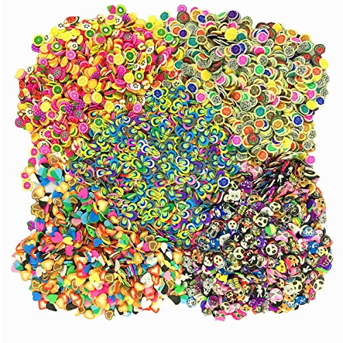 5000 Pcs Mini 3D Polymer Fimo Slices DIY Slime Supplies Charms Making Kit Decoration Arts Crafts Sticking to Slime and Nail Art