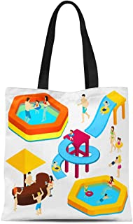 Semtomn Cotton Canvas Tote Bag Water Amusement Park Playground Slides and Splash Pads Reusable Shoulder Grocery Shopping Bags Handbag Printed