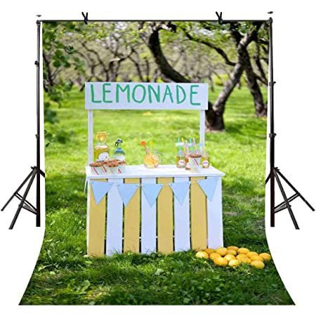 EARVO 7x5ft Baby Shower Backdrop Yellow Lemon Green Leaves Photography Background Summer Party Polyester Backdrop Studio Video Props EALS615
