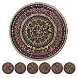Morning View Colorful Boho Plant Pot Mat Set of 6 Absorbent Non Slip Plant Pot Pad for Table Desk Floor 8.5 x 8.5 Inch