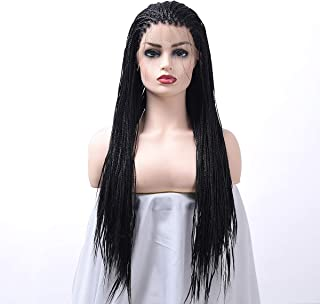 LOT ARTS Braided Lace Front Wigs Synthetic Hair Natural Black Heat Resistant Hair Micro Braid Hair for Black Women 24 inch