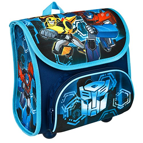Scooli TFJK8240 - Vorschulranzen Cutie mit Klettverschluss, ergonomisch, leicht, Transformers mit Bumblebee und Optimus Prime Motiv, ca. 4,5 Liter
