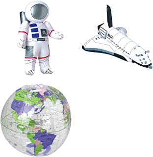 Novelty Treasures Fun Space Trio Inflate Set Astronaut, Space Shuttle, and Globe