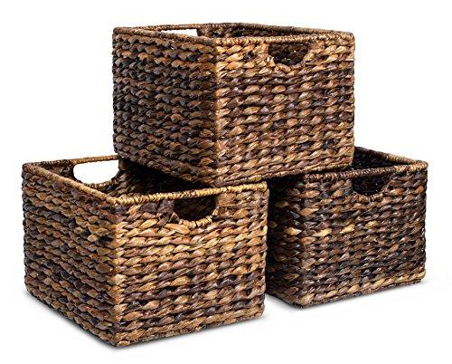 BIRDROCK HOME Woven Storage Shelf Organizer Baskets with Handles - Set of 3 - Abaca Wicker Basket - Pantry Living Room Office Bathroom Shelves Organization - Under Shelf Basket - Handwoven (Espresso)