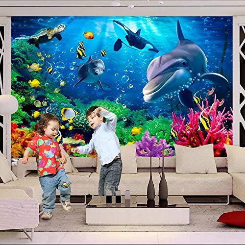 3D Behang Gepersonaliseerde Onderwaterwereld Dolfijn Cartoon Kinderen 3D Muurschildering Fotobehang-250 * 175cm