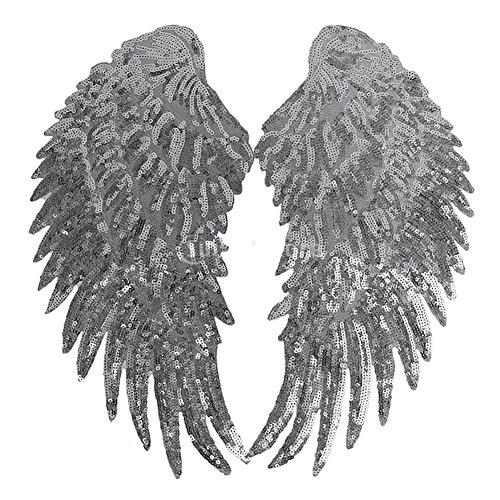 2 parches lentejuelas alas ángel ropa, bordados
