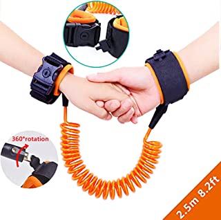 Donsane Child Safety Leashes Toddler Anti Lost Strap Children Walking Wrists Kids Safety Harness Link Belt Sturdy Flexible Skin Friendly Outdoor Shopping (Orange)