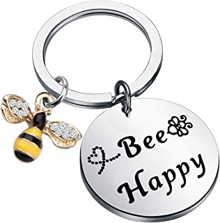 Bee Happy Keychain with Bumble Bee Chram Bee Jewelry Motivational Gift for Friend Family