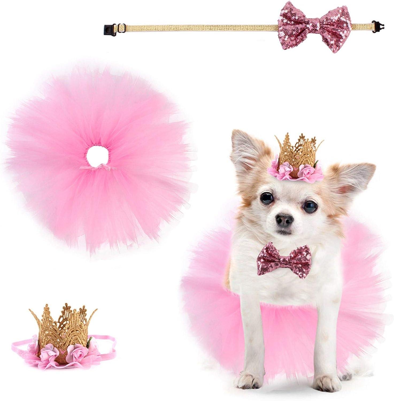 Esenlong Disfraz de perro, 3 unids/set de suministros de fiesta de cumpleaños para cachorro, falda tutú, pajarita, corona sombrero para mascotas para boda, día de San Valentín