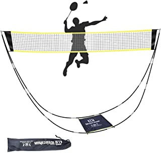 LEFOR·Z Badminton Net,Portable Badminton Net Set with Stand Carry Bag,Foldable Tennis Volleyball Net for Indoor Outdoor Sp...