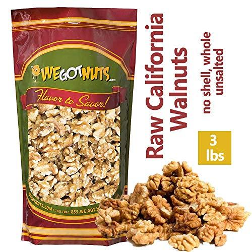 Three Pounds Of California Walnuts, 100% Natural, NO PPO, No Preservatives,Shelled,Raw - We Got Nuts