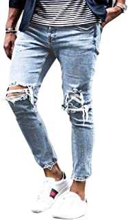 IDEALSANXUN Mens Ripped Jeans Tapered Leg Slim Destroyed Jeans with Hole
