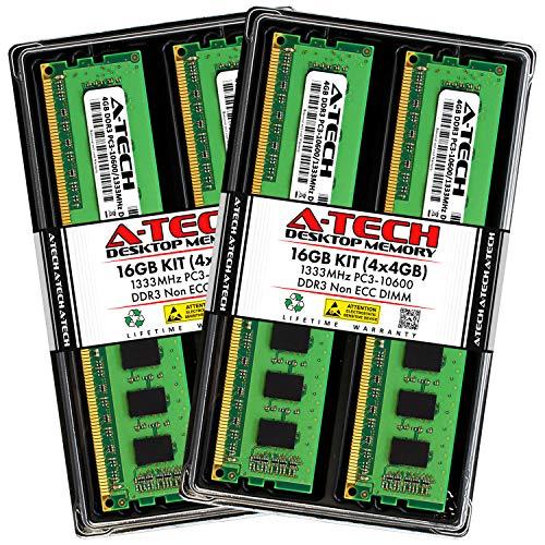 A-Tech 16GB (4x4GB) DDR3 1333MHz DIMM PC3-10600 UDIMM Non-ECC CL9 240-Pin Desktop Computer RAM Memory Upgrade Kit
