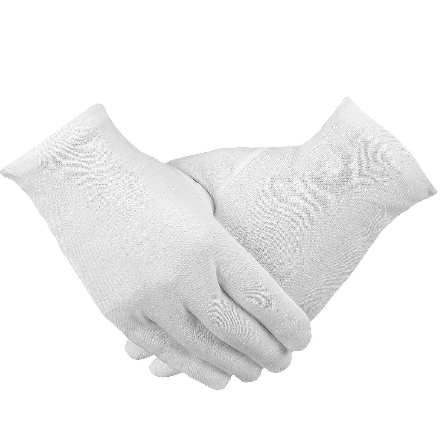 負担ボンド超えてPAMASE 12ペア 手荒れ対策 コットン手袋 綿手袋 純綿 ハンドケア 白手袋 お休み 乾燥肌用 保湿用 家事用 礼装用 メンズ レディース 手袋