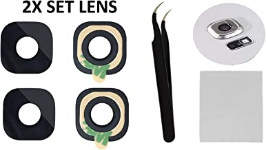 2X Back Rear Camera Glass Lens Cover Replacement + Tool + Guide with TIPS + Adhesives Preinstalled + Tempered Glass + Clean Cloth For Samsung Galaxy S6 G920, S6 G925 Edge Plus, Active (Any Carriers)