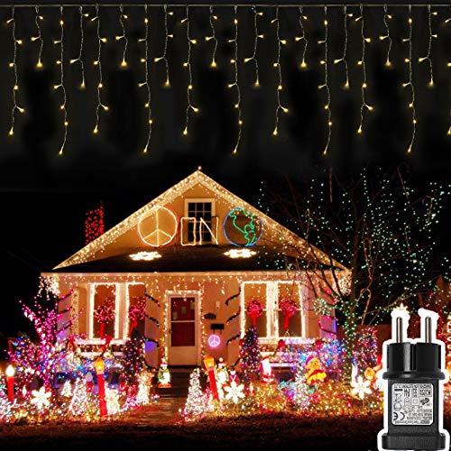 400 LED 20.8M Lichterkette Eisregen, Opard Lichtervorhang Eiszapfen mit Steckdose, 8 Modi für Party, Hochzeit, Feier, Geburtstag, Terrasse, Dekoration