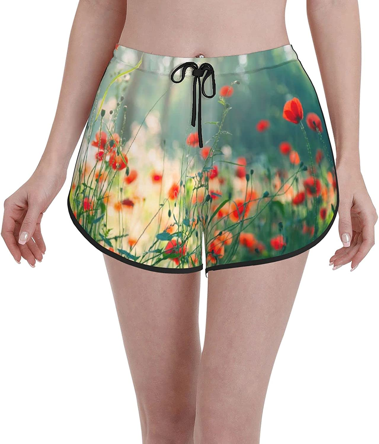 Women's Girl's Swim Trunks Wild shipfree Field Flowers Spring new work one after another Red Sum Poppy