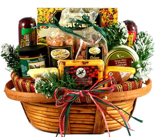 Home For The Holidays: Cheese and Sausage Christmas Gift Basket With Wisconsin Cheeses and Unique Sausages