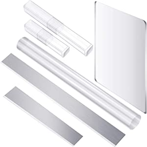 4 Pieces Acrylic Solid Clay Roller Clear Acrylic Sheet Rectangle Shape Backing Board Flexible Polymer Clay Cutters Carbon Steel Blades for DIY Shaping Modelling Sculpting Tools